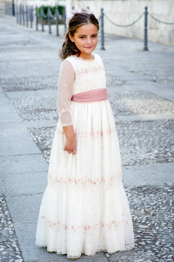vestido comunion rosa